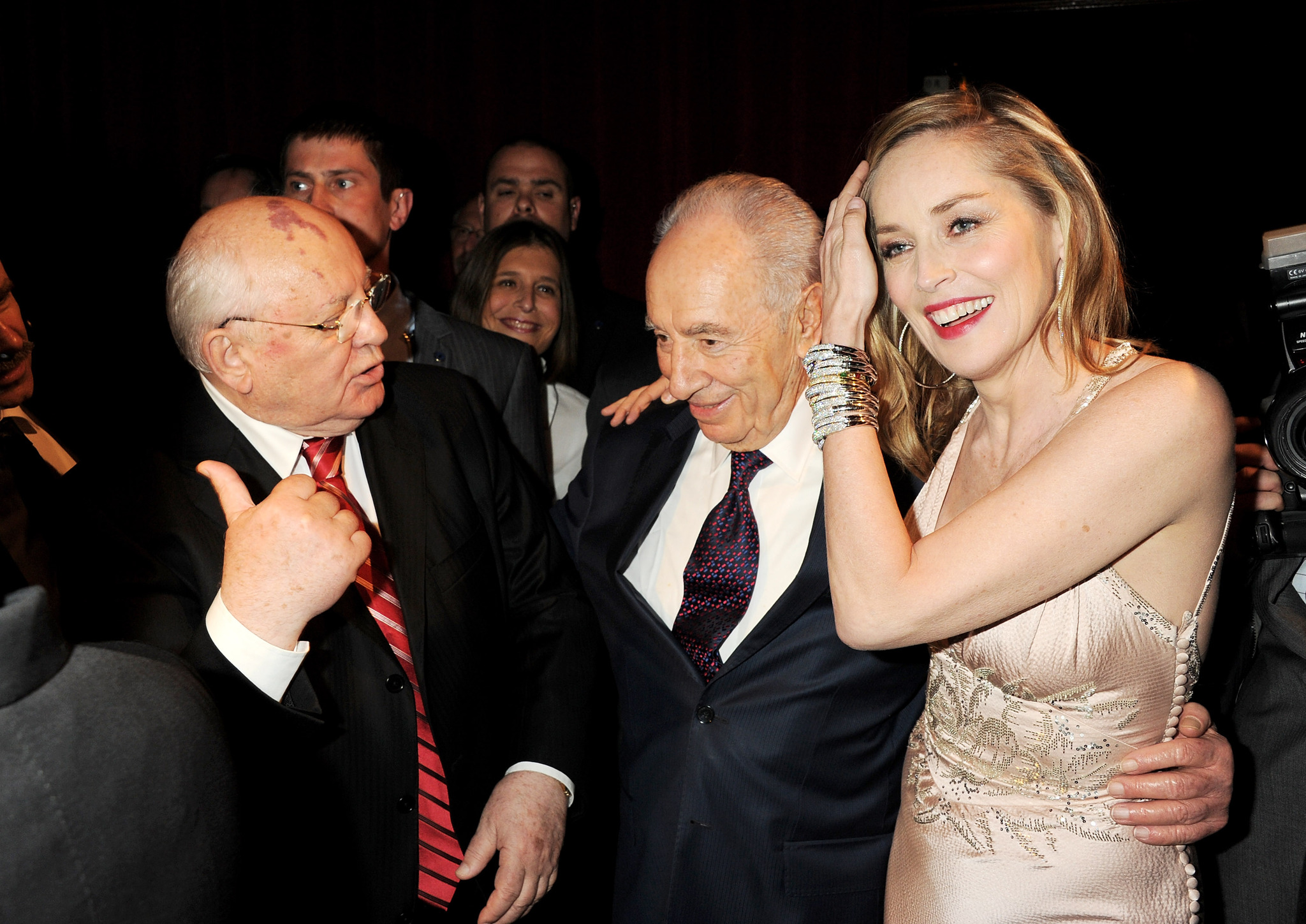 LONDON, ENGLAND - MARCH 30: (L to R) Former Soviet leader Mikhail Gorbachev, Israeli President Shimon Peres and actress Sharon Stone attend the Gorby 80 Gala at the Royal Albert Hall on March 30, 2011 in London, England. The concert is to celebrate the 80th birthday of the former Soviet leader Mikhail Gorbachev. (Photo by Dave Benett/G80/Getty Images)