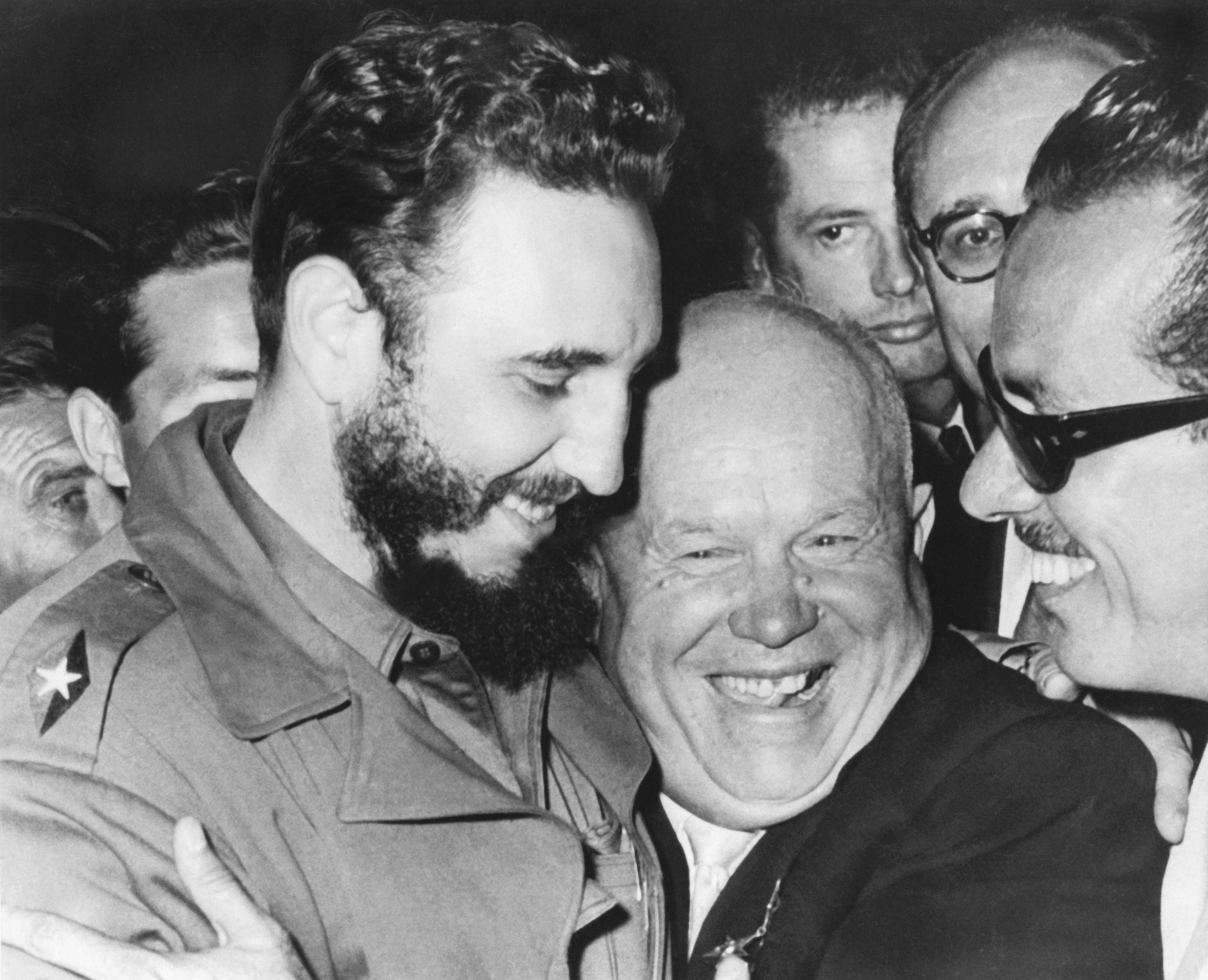 A jovial greeting takes place between Cuba's Prime MInister Fidel Castro and Soviet Union's Premier Nikita Khrushchev when they met at the United Nations today, New York, New York, September 20, 1960. (Photo by Underwood Archives/Getty Images)