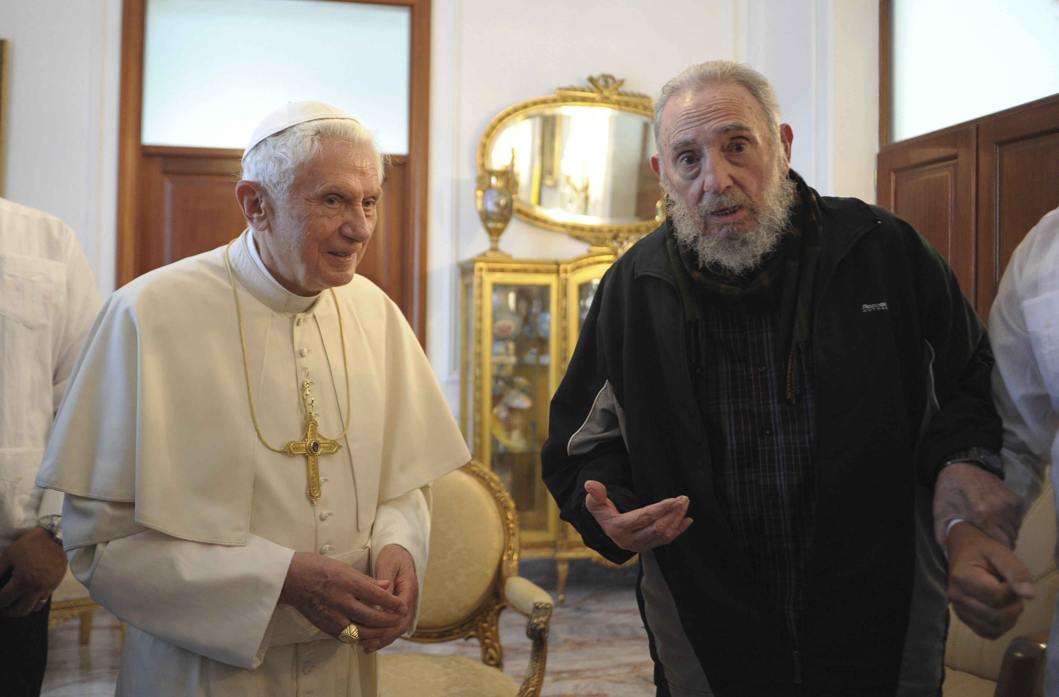Pope Benedict XVI meets with Cuba's former President Fidel Castro at the apostolic nunciature in Havana March 28. (CNS photo/L'Osservatore Romano via Reuters) (March 28, 2012) See POPE-FIDEL March 28, 2012.