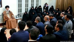 epa06413434 A handout photo made available by the Supreme leader official website shows, Iranian Supreme leader Ayatollah Ali Khamenei (L), as he speaks during a meeting with family members of Iranian martyrs, in Tehran, Iran, 02 January, 2018. Media reported that Khamenei said the protests against the Islamic establishment controlled by foreign countries. 'The enemies of Iran have in recent days provided the troublemakers with money, weapons and political support to harm Iran,' he added. EPA-EFE/Supreme leader official website/ HANDOUT HANDOUT EDITORIAL USE ONLY/NO SALES